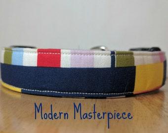 "Fun Modern Navy & Multicolor Geometric Dog Collar ""Modern Masterpiece"""