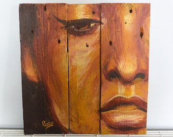 "Painting on wood ""l'adorée"""