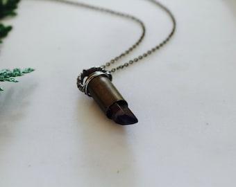 Maelin No. 3 // Contemporary Bullet Casing + Crystal Necklace