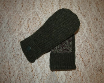 Warm Upcycled Wool Mittens - Fleece Lined!