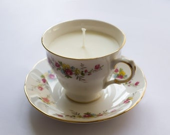 Unscented Soy wax candle in cute bone china teacup
