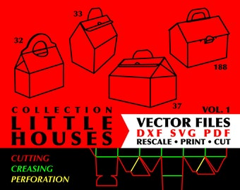 Little Houses Gift Boxes // Collection of 8 Digital Vector Cutting Packaging Templates DXF SVG PDF Formats // Vol. 1-2 // Instant Download