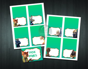 ZOOTOPIA FOOD TENT Cards (8 Blank)    Digital Item   No item will be shipped