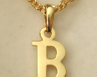 Genuine SOLID 9K 9ct YELLOW GOLD 3D Initial B Letter Pendant