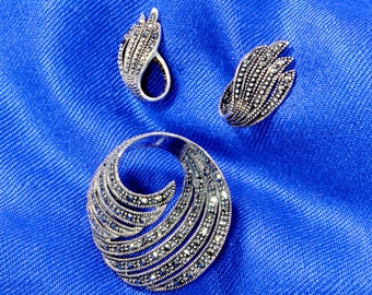 Deco Sterling Silver and Marcasite Open Swirl Brooch / Pin and Earring Set Vintage Estate