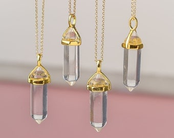 Natural Crystal Point Necklace Crystal Necklace Clear Crystal Layering Pendant Healing Crystal Yoga Pendant Double Point Necklace