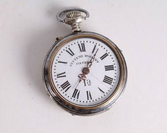 Antique Vintage Old Swiss Made Systeme Roskopf Silver Open Face Pocket Watch.