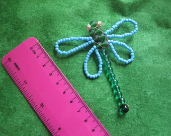 Blue and green beaded dragonfly brooch