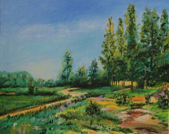 Hand painted Original Summer Country Road Oil Painting on Canvas Impressionism