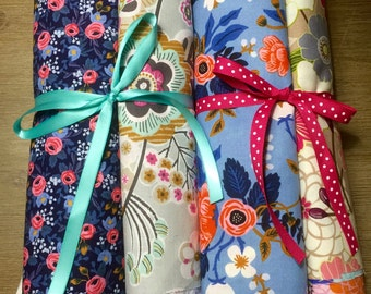 Beautiful Floral Scrap Pack, 40 Piece Fabric Scrap Pack full of Flower Prints, Weave and Woven