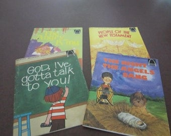 set of 4 childrens books, Arch Books, Religious books for Children, Bible stories, Concordia , stories of Jesus, Christmas story, the Gospel