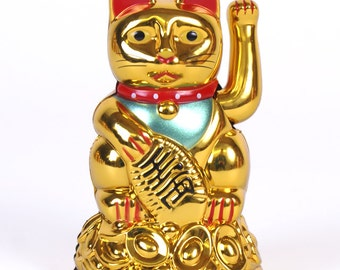 Hand painted welcoming gold cat, money cat