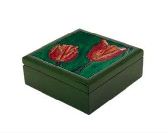 "Wooden Jewlery box ""Tulips"""
