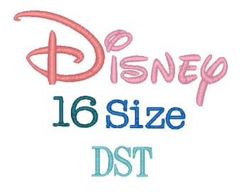 Disney 16 Sizes Disney Embroidery Font DST Format Embroidery Machine.