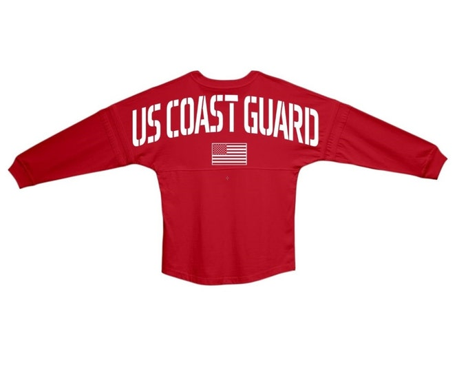 Coast Guard Jersey USCG  | Oversized Red Rugby Jersey Pom Pom