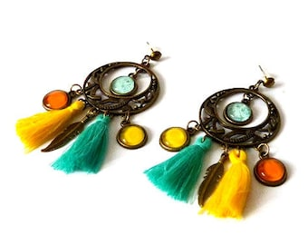 """""""Rio"""" - cabochons & PomPoms cabochons earrings"""