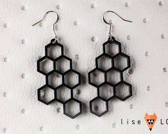 Plexiglass Lasercut Honeycomb Earrings