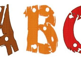 Bogo Free Font, Wood Alphabet Font, Machine Embroidery Design, Instant Download