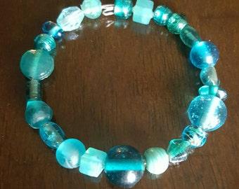 Assorted Glass Bead Bracelet - Blue