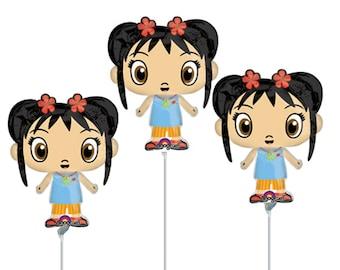 FAST SHIP 3 Ni Hao Kai Lan Birthday Balloons Cup and Stick Included, Kai Lan Centerpieces, Ni Hao Kai Lan Air Fill Balloons Party Favors