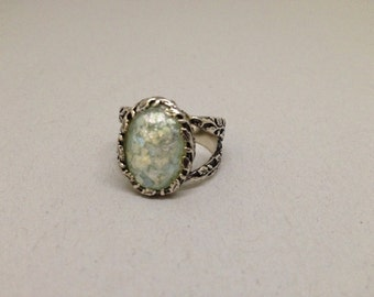 Ancient Roman Glass & Sterling Silver Ring