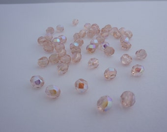 6mm Fire Polished Beads Soft Peach AB x 50