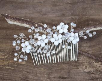 Bridal Hair Comb, Wedding Headpiece, Crystal Hair Piece, Wedding Hair Comb, Silver Hair Comb, white hair comb, flower headpiece, hair comb