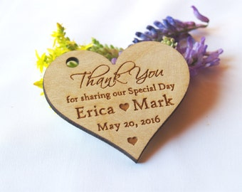 Thank you wedding tags, Thank you wood tags, Wedding favor, Wedding rustic tags, Hearts tags, Wedding favor rustic, Wedding tags, Wood tags