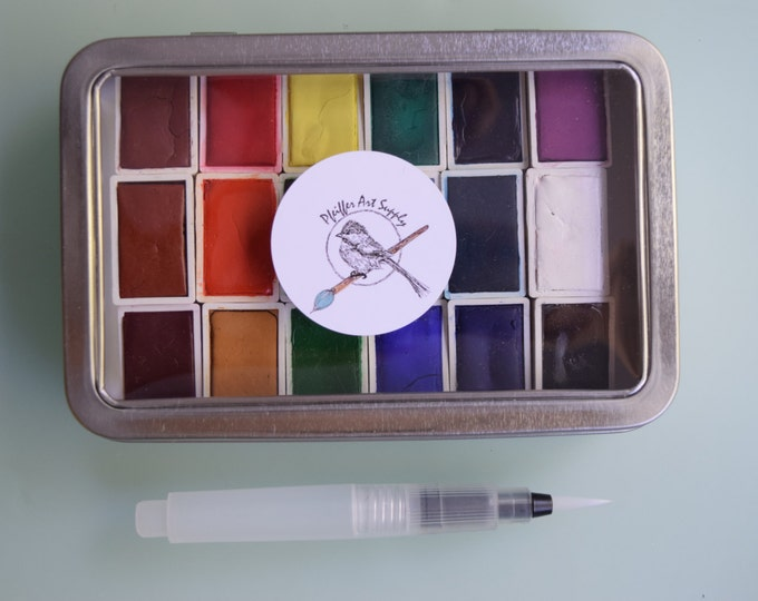 Featured listing image: Watercolor paint handmade travel palette tin - 18 whole pans of your choice, water brush included