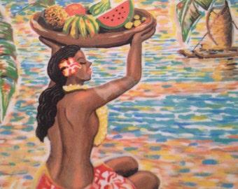 Hawaiian Serving Tray   Pacific Island Art by Eddy Kamuanga Ilunga