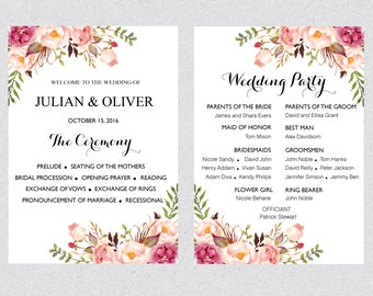 Printable Boho Wedding program template card , Floral watercolor peony Flower Ceremony Program Editable Text INSTANT DOWNLOAD MS Word WPRO31