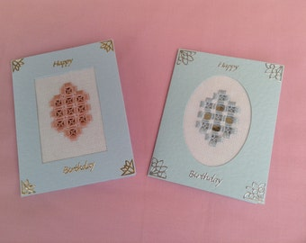 HANDMADE HARDANGER CARD. Set of two pink and blue