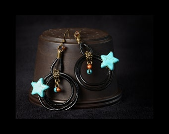 Earrings leather and turquoise