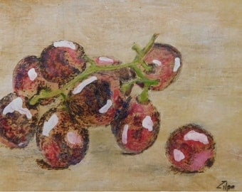 Red Grapes in Encaustic Art