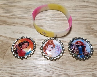 10 Yellow Bracelets Party Favors. Belle, Merida, Elena of Avalor