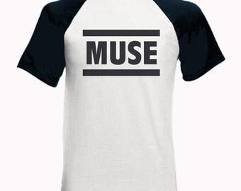 Short Sleeve Baseball T-Shirt with Muse Logo - The Resistance HAARP Matt Bellamy