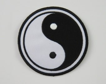 Yin Yang Iron On/ Sew On Embroidered Cloth Patch Badge Appliqué UK seller Size: 7.8cm