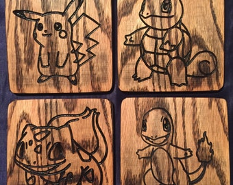 Pokemon Coasters Set of 4 (Pikachu, Squirtle, Bulbasaur, Charmander)