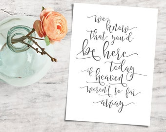 Printable Heaven Wedding Sign, Signage for Lost Loved Ones - INSTANT DOWNLOAD