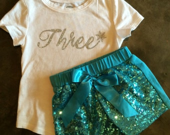 Frozen inspired Birthday outfit. Snow queen birthday sequin shorts and shirt with snowflake. First Birthday