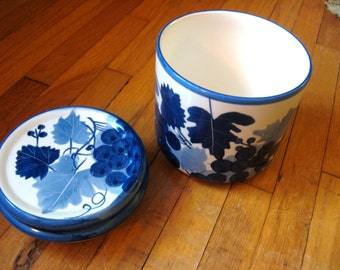 Vintage - Designpac Ceramic Canisters Handpainted With Grape and Leaf Design