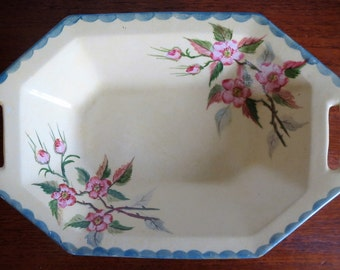 Vintage H&K Tunstall signed hand painted dish with wild roses