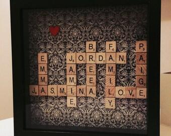 Wooden scrabble frame - FAMILY