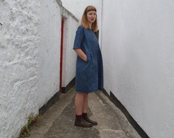 The CASSANDRA Dress: indigo linen tunic dress with side pockets