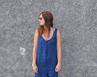 The LEDA Jumpsuit: Navy Blue Linen romper / onesie / one piece