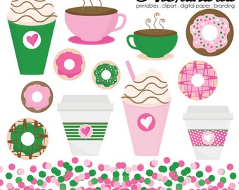 Donut Diva Digital Clipart - Personal & Commercial Use - Sprinkles Clipart, Doughnut Graphics, Coffee Images