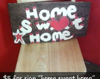 "Hand painted ""home sweet home"" plaque"