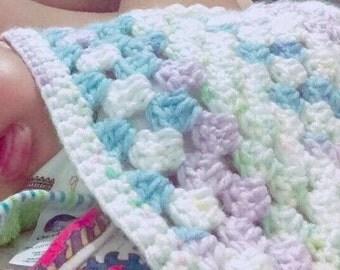 Handmade crochet cozy soft baby blanket in soft acrylic yarn 35inx35in