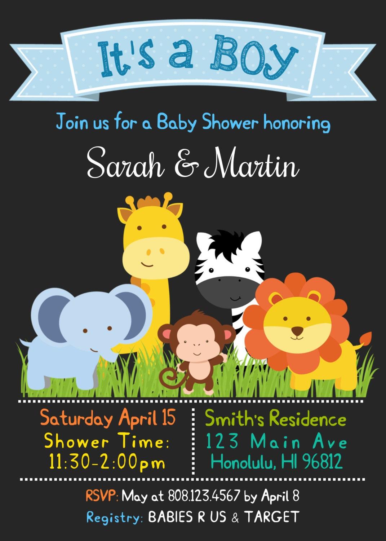 Jungle Safari Baby Shower Invitation, Zoo Animals Elephant Lion ...