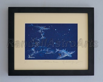 Constellation Pisces print, Pisces drawing, zodiac print, Pisces fine art print, Pisces star drawing, zodiac constellation